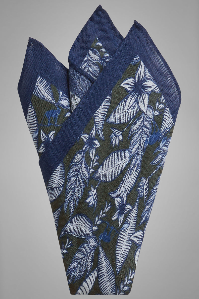 Floral Print Linen Pocket Square