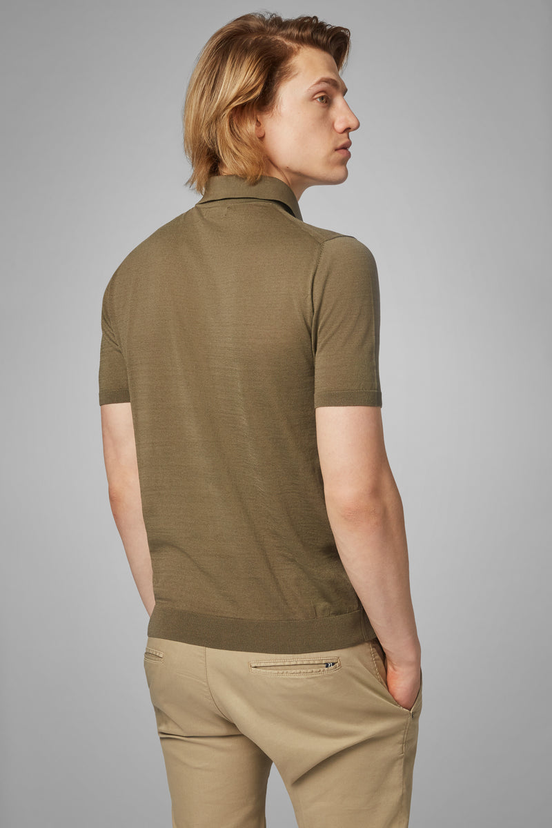 Military Green Cotton Crepe Jersey Polo Shirt
