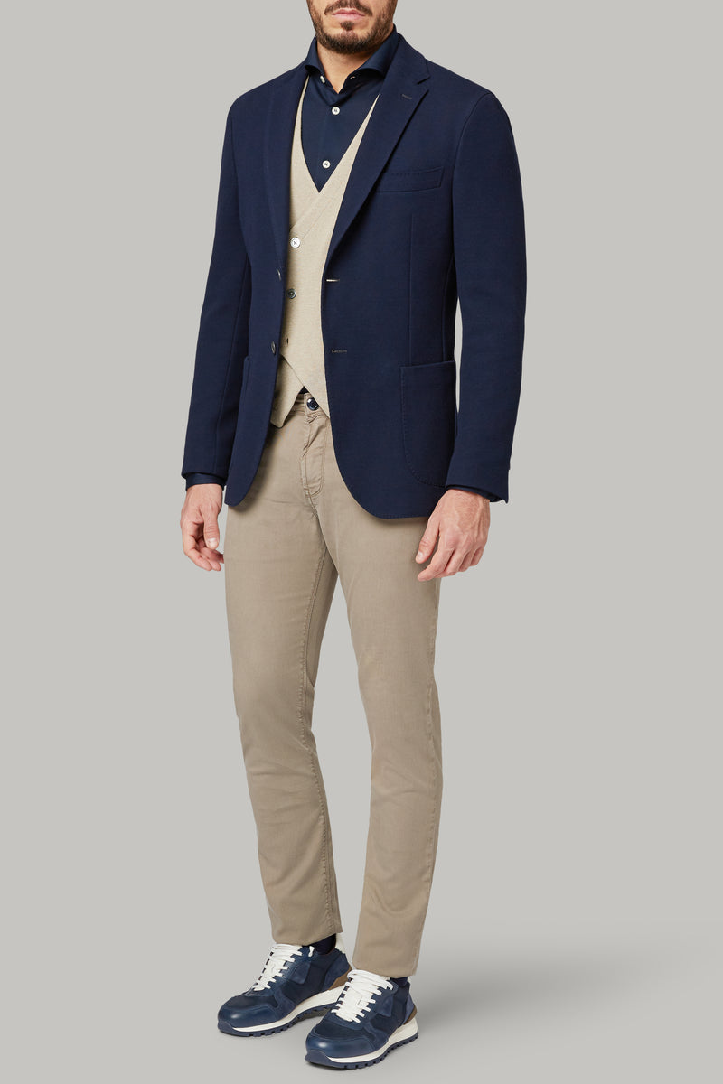 NAVY BLUE JACKET IN COTTON CREPE JERSEY