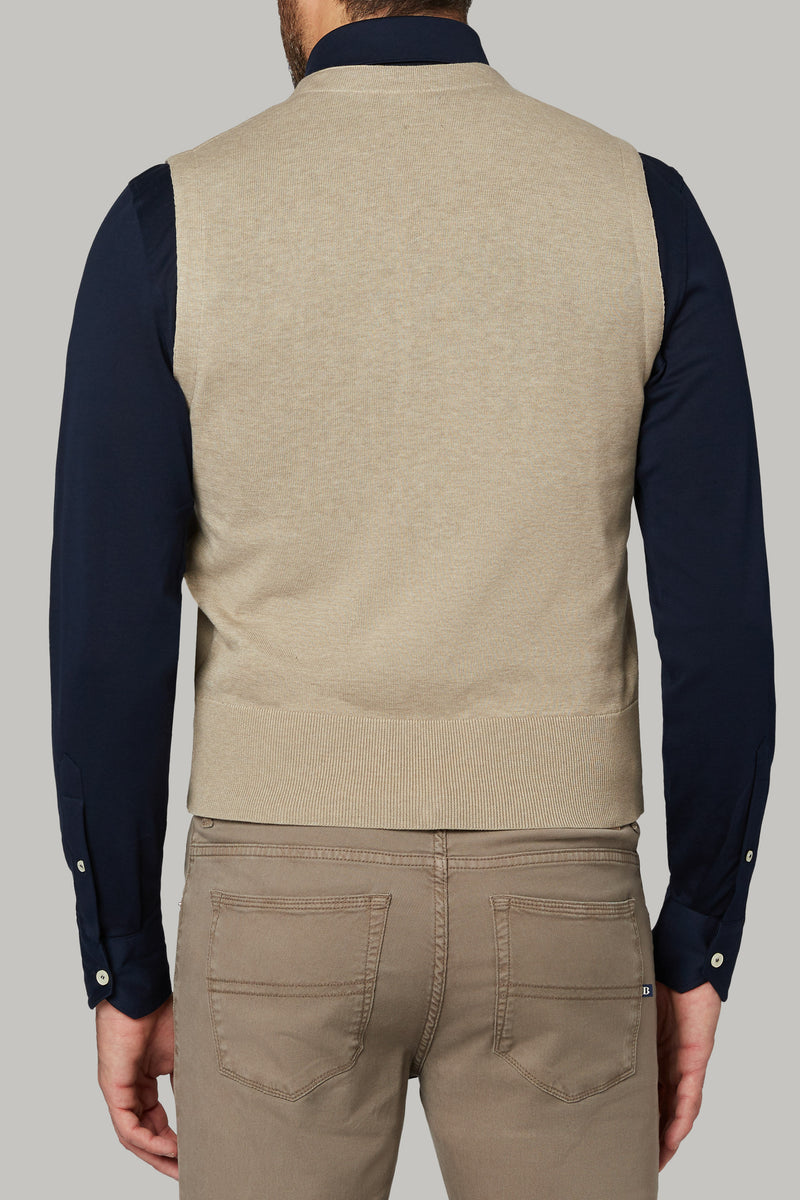SAND DOUBLE BREASTED COTTON KNIT WAISTCOAT