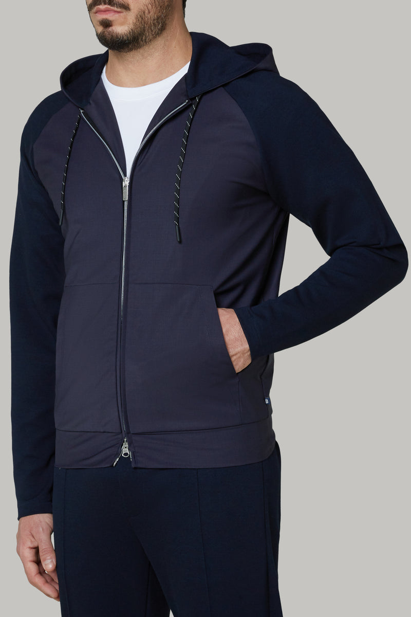 FULL ZIP SWEATSHIRT IN WASHABLE WOOL AND INTERLOCK