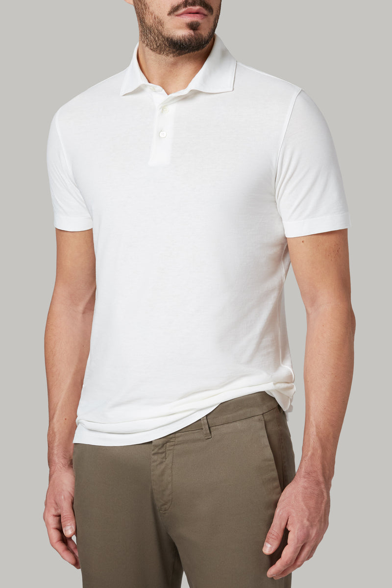 REGULAR FIT POLO SHIRT IN COTTON CREPE JERSEY
