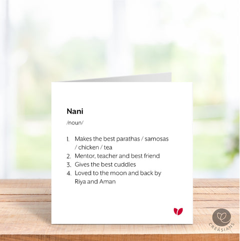 Personalised Nani, Dadi, Baa, Nan, Gran Mothers Day card