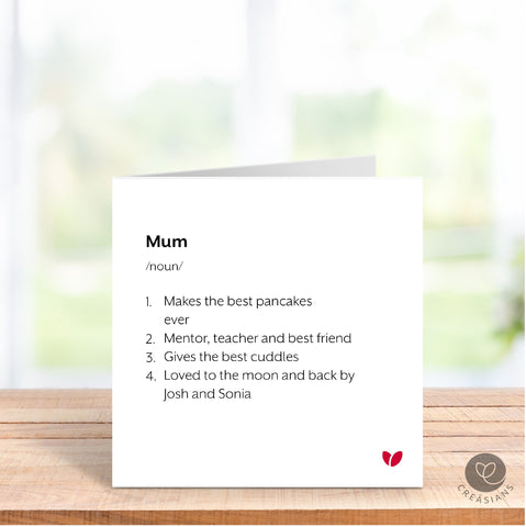 Personalised card for Mum, Mummy, Nani, Nan, Gran, Grandma Mothers Day card