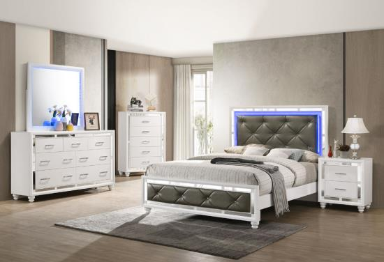 Whitaker Bedroom in White & Silver