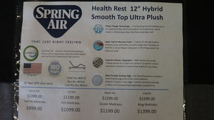 "Health Rest 12"" Hybrid Smooth Top Ultra Plush"