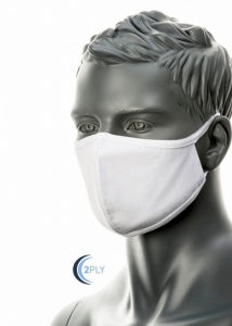 2 Ply Washable White Cotton Fabric Face Mask - Reusable (Civilian - 25 pack)