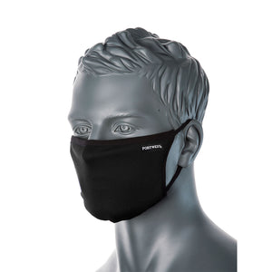 3 Ply Antibacterial Black Fabric Face Mask (Civilian) - Adjustable Toggles for size fits ALL