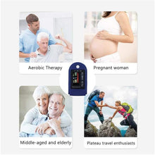 Load image into Gallery viewer, Pulse Oximeter, Oxygen Saturation Sensor (SpO2), Fingertip Pulse Oximeter, Monitors Heart Rate, Four-Color OLED Display, with Lanyard