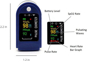 Pulse Oximeter, Oxygen Saturation Sensor (SpO2), Fingertip Pulse Oximeter, Monitors Heart Rate, Four-Color OLED Display, with Lanyard