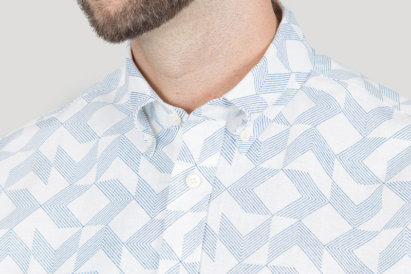 Short Sleeve Arrows Print - Blue on Ecru