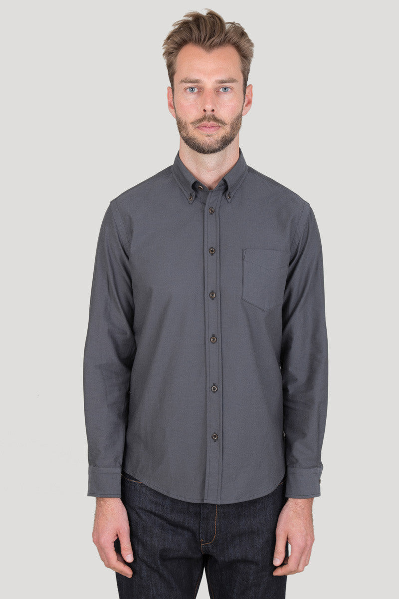 Classic Button Down - Charcoal Oxford