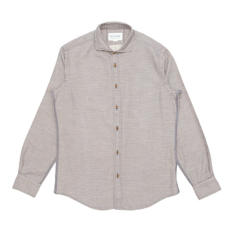 Italian Flannel Spread Collar - Cream Stripe