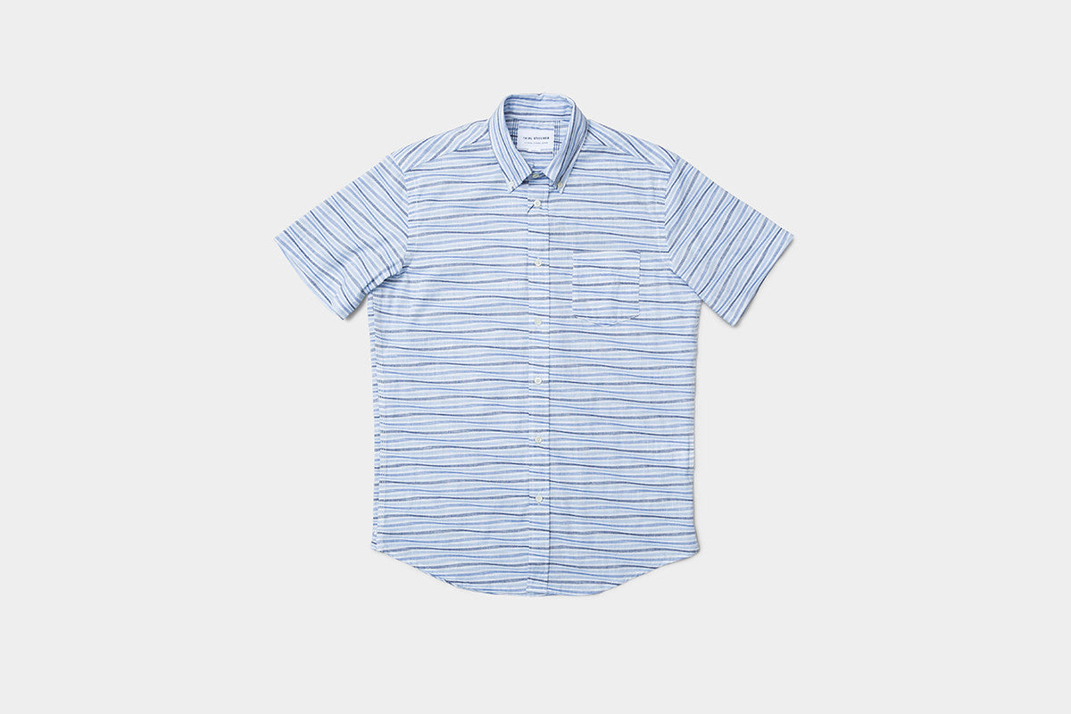 Short sleeve oxford wave - blue