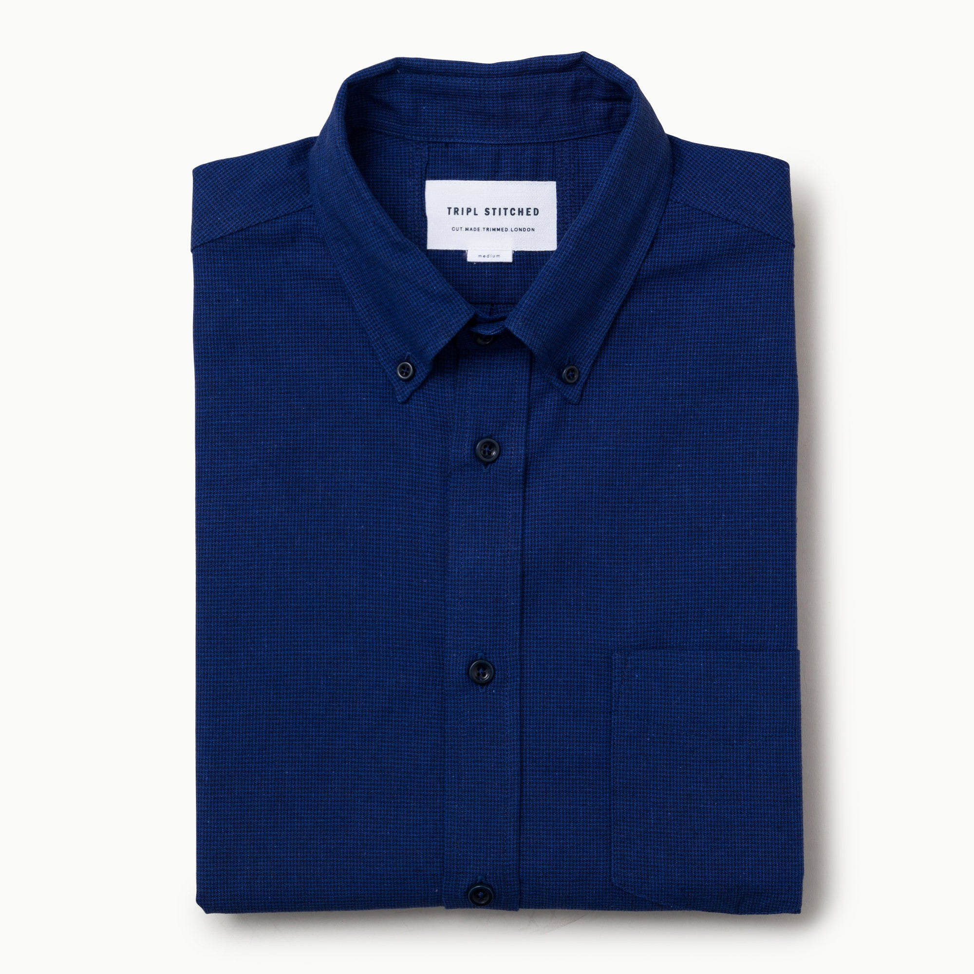 Mid blue/Navy cotton/linen dogtooth