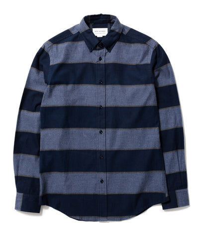 Blue Large Stripe Button Down