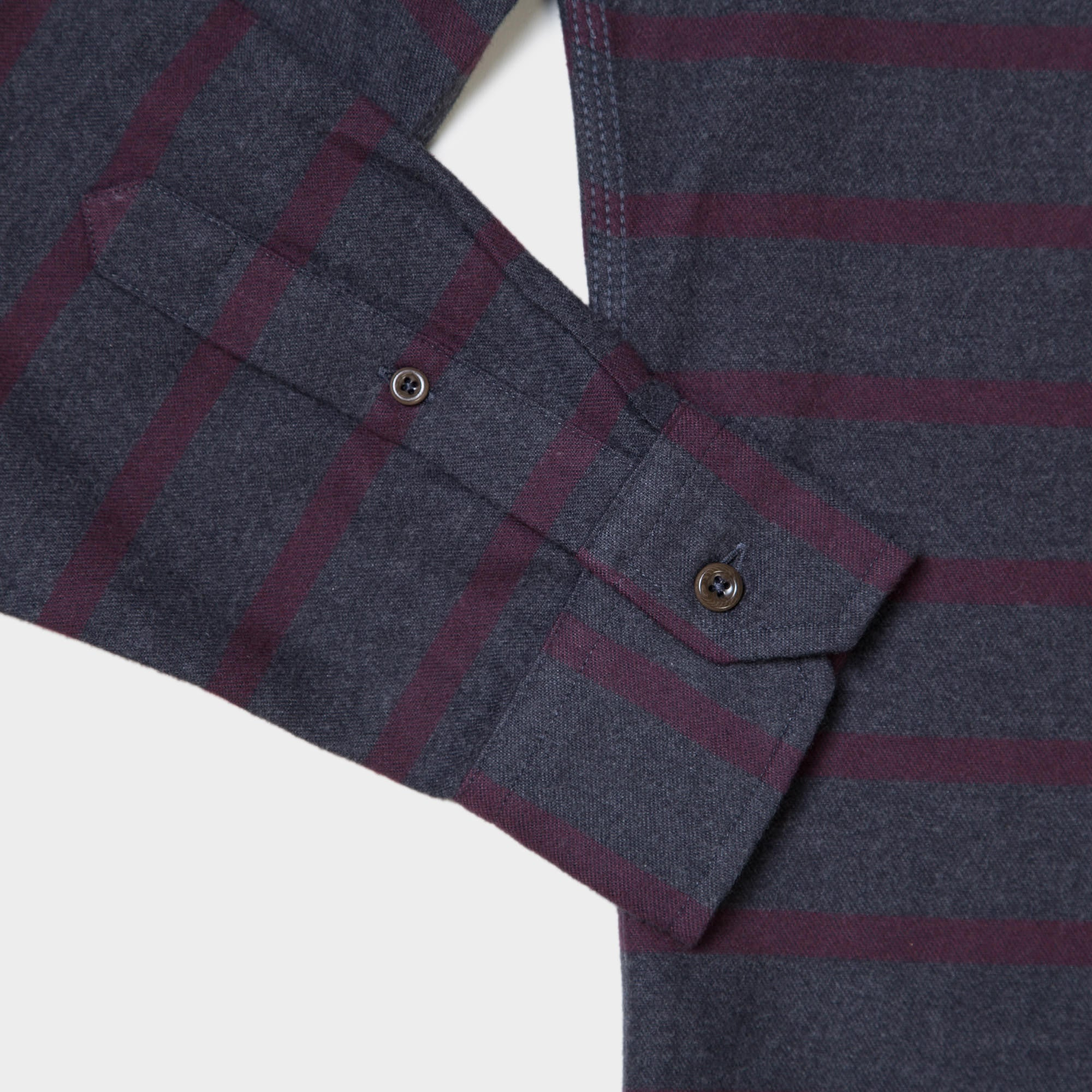 Burgundy and Grey Stripe Button Down