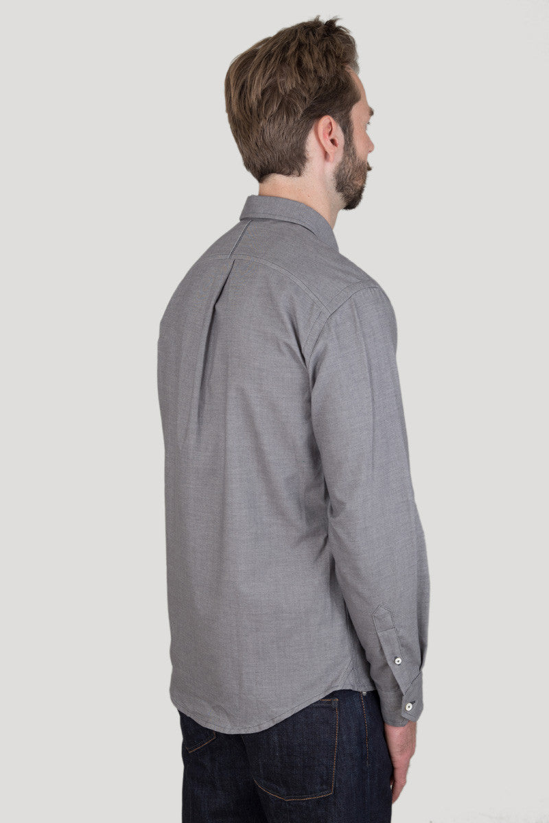 Italian Flannel Spread Collar - Charcoal
