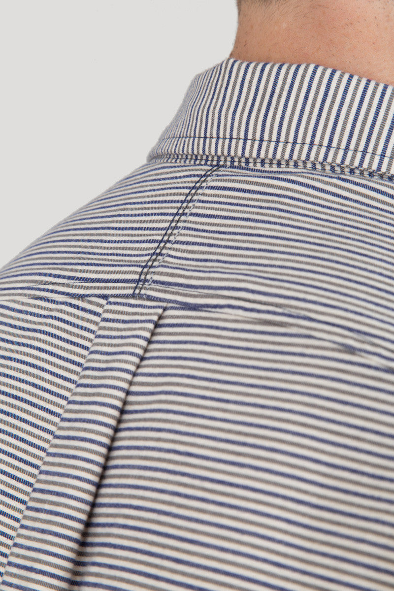 Italian Flannel Spread Collar - White Grey Stripe