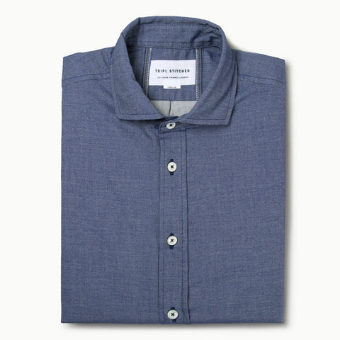 Italian Flannel Spread Collar - Denim
