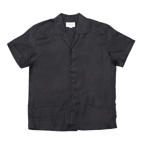 Cuban Shirt - Black Linen