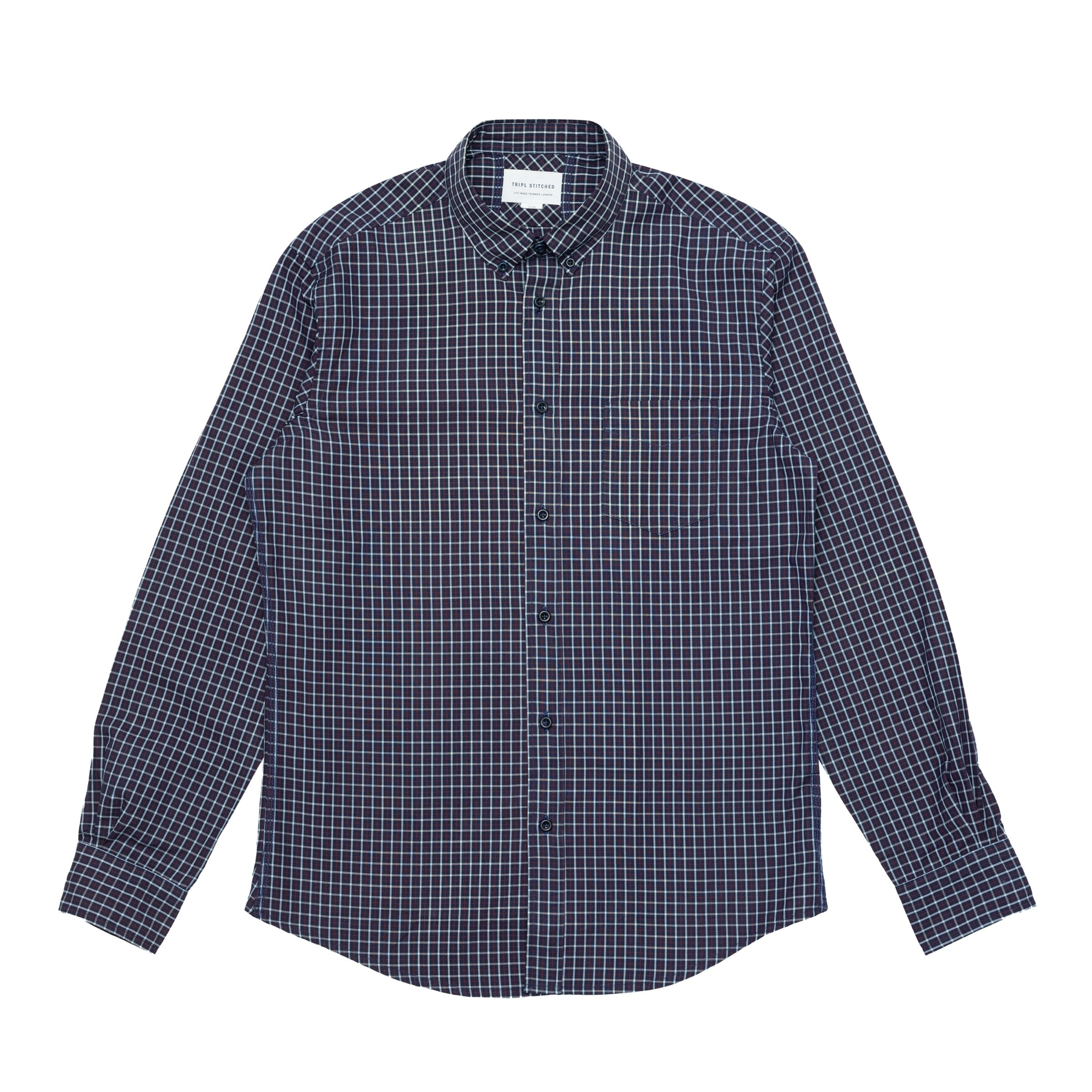 Classic Button Down - Indigo Blue Red Check
