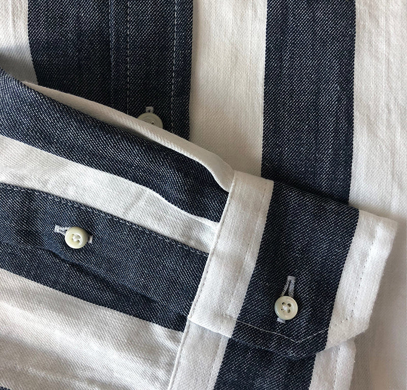 Button Down Shirt - Denim Blue Stripe