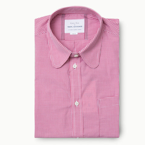 Penny Round Collar in Pink Micro Check