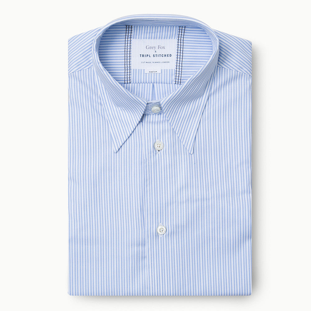 Point Collar in Light Blue Stripe