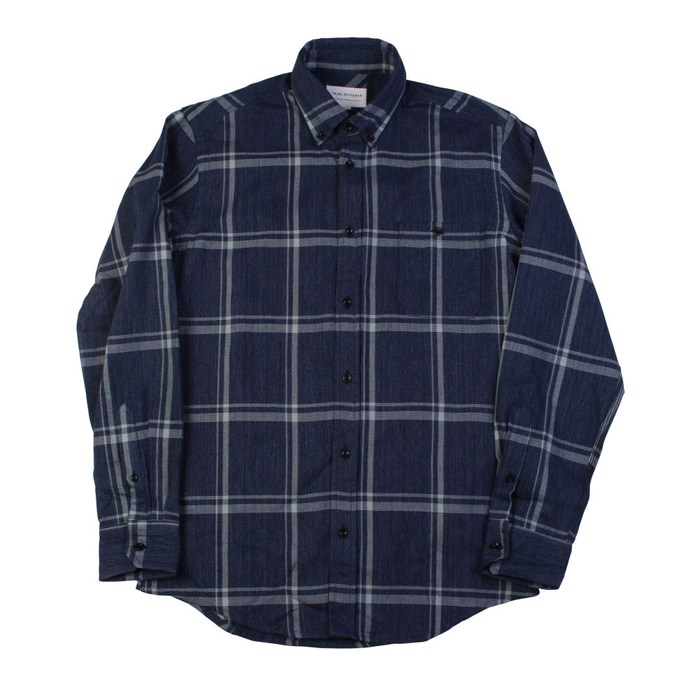 Button Down Shirt - Japanese Wide Navy Check