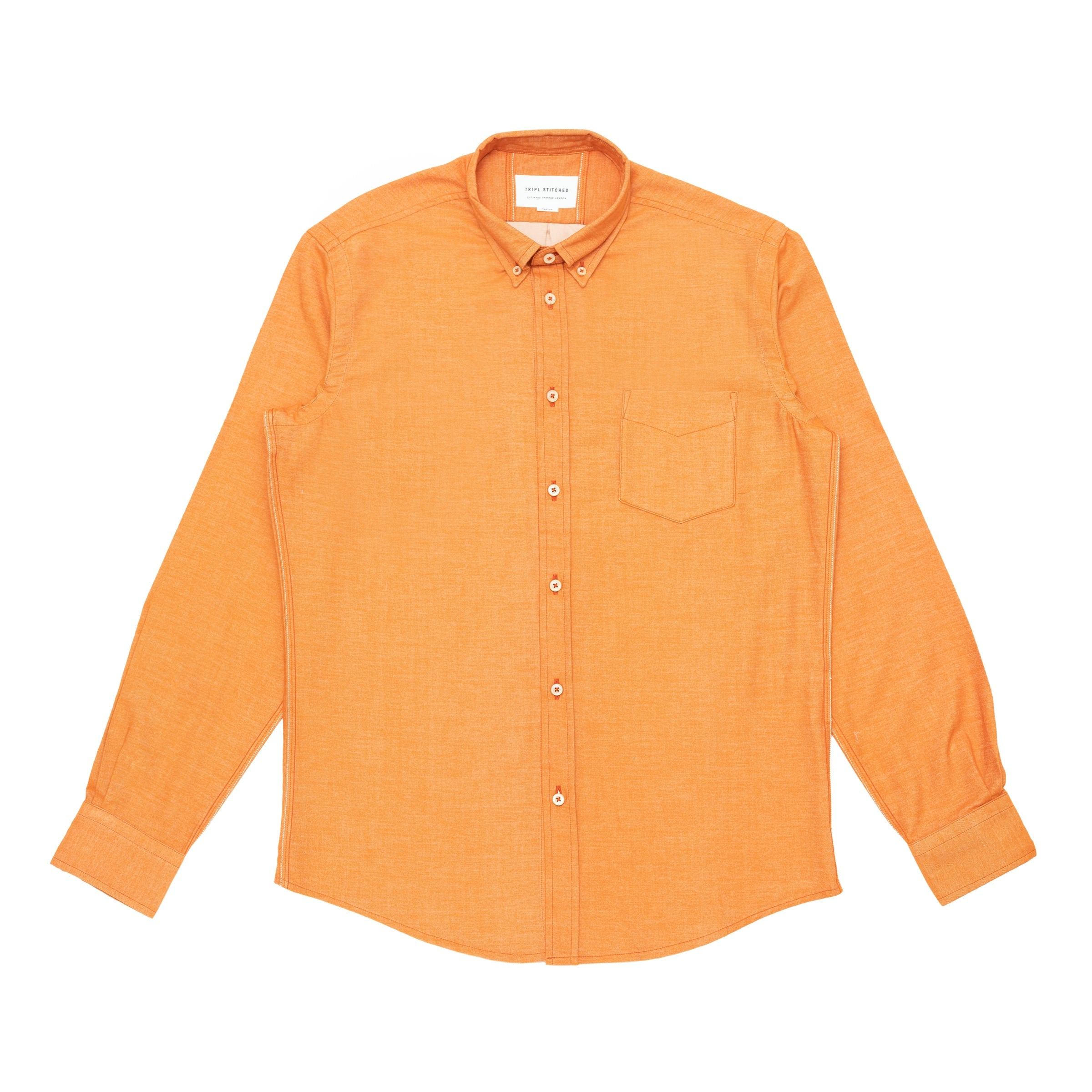 Italian Flannel Button Down - Orange