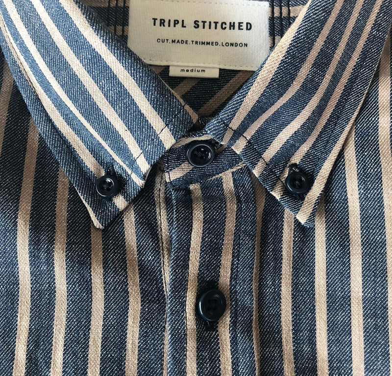 Button Down Shirt - Blue Beige Stripe