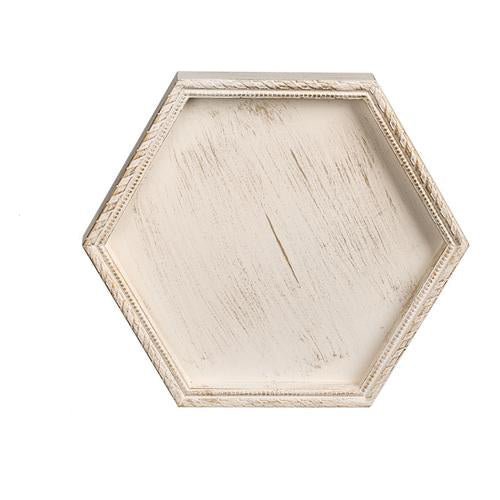 Wooden Serving Tray Hexagon