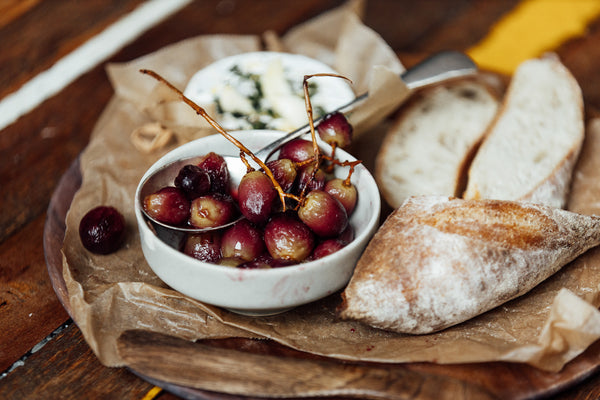 'Oven-Ready' French Camembert With Roasted Grapes. With 'Ready To Bake' Baguette