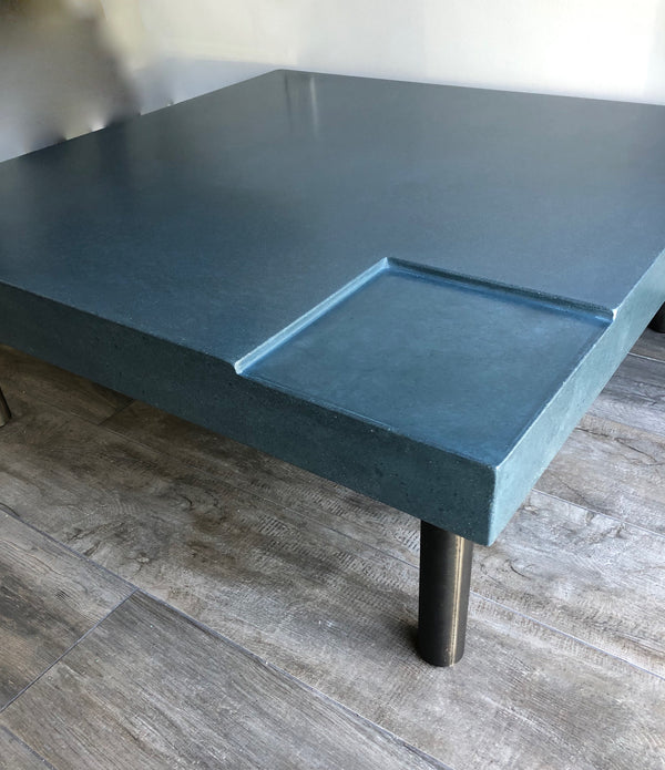 Poured Concrete Table - Outermost Blue