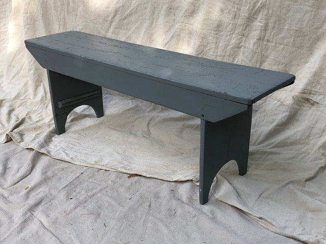Vintage Painted Grey Wood Bench