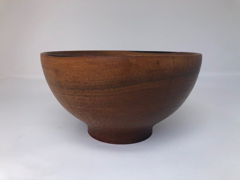 "Turned Teak Wood Bowl 7.5""w x 4.25""h"