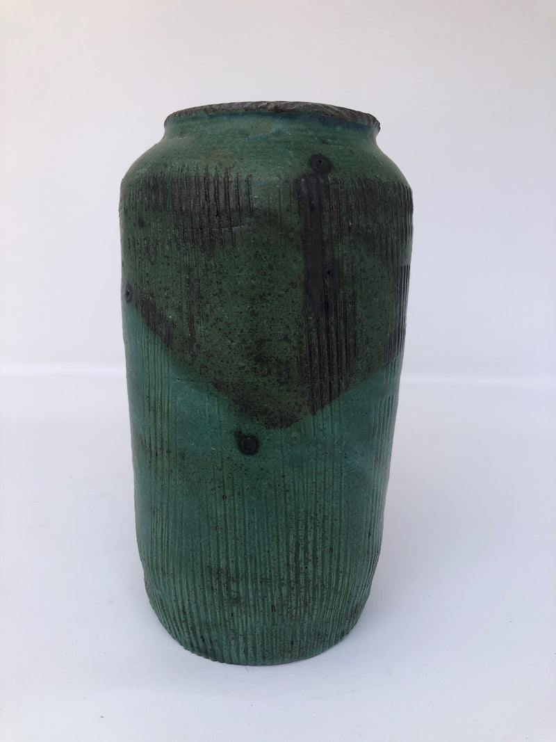 "Green Vase With Groove Pattern, 7.5""h x 4""w"