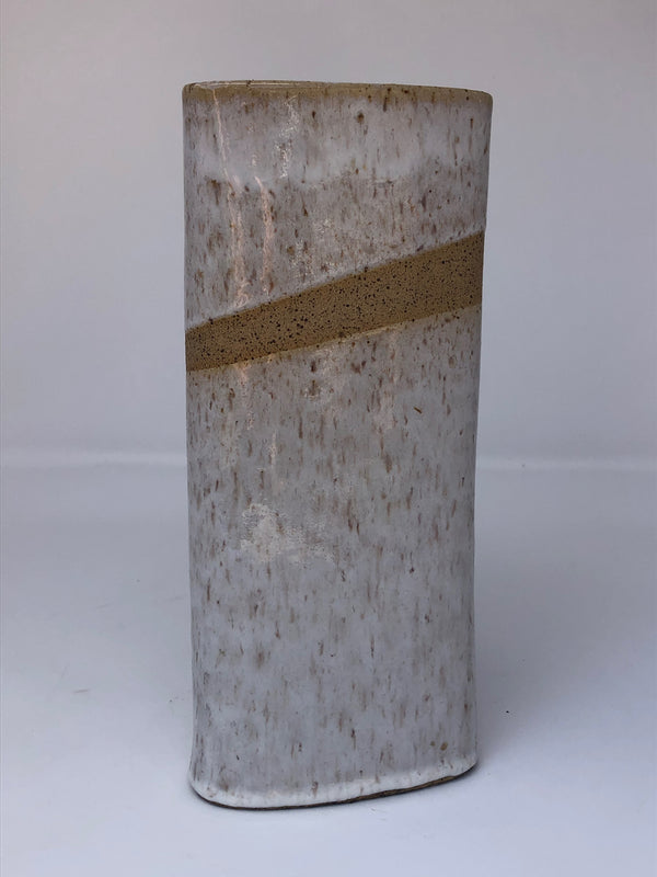 "Triangular Drum Vase, 9""h x 3.5""w"