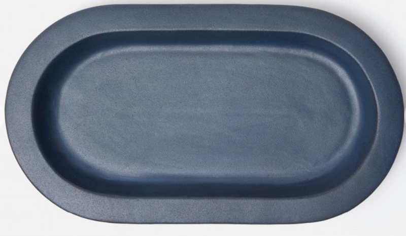 Medium Blue Oval Serving Platter