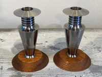 Deco Stainless and Oak Candlesticks