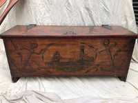 Peter Hunt Folk Art Wood Chest