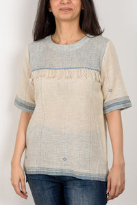 Blue Yoke Top