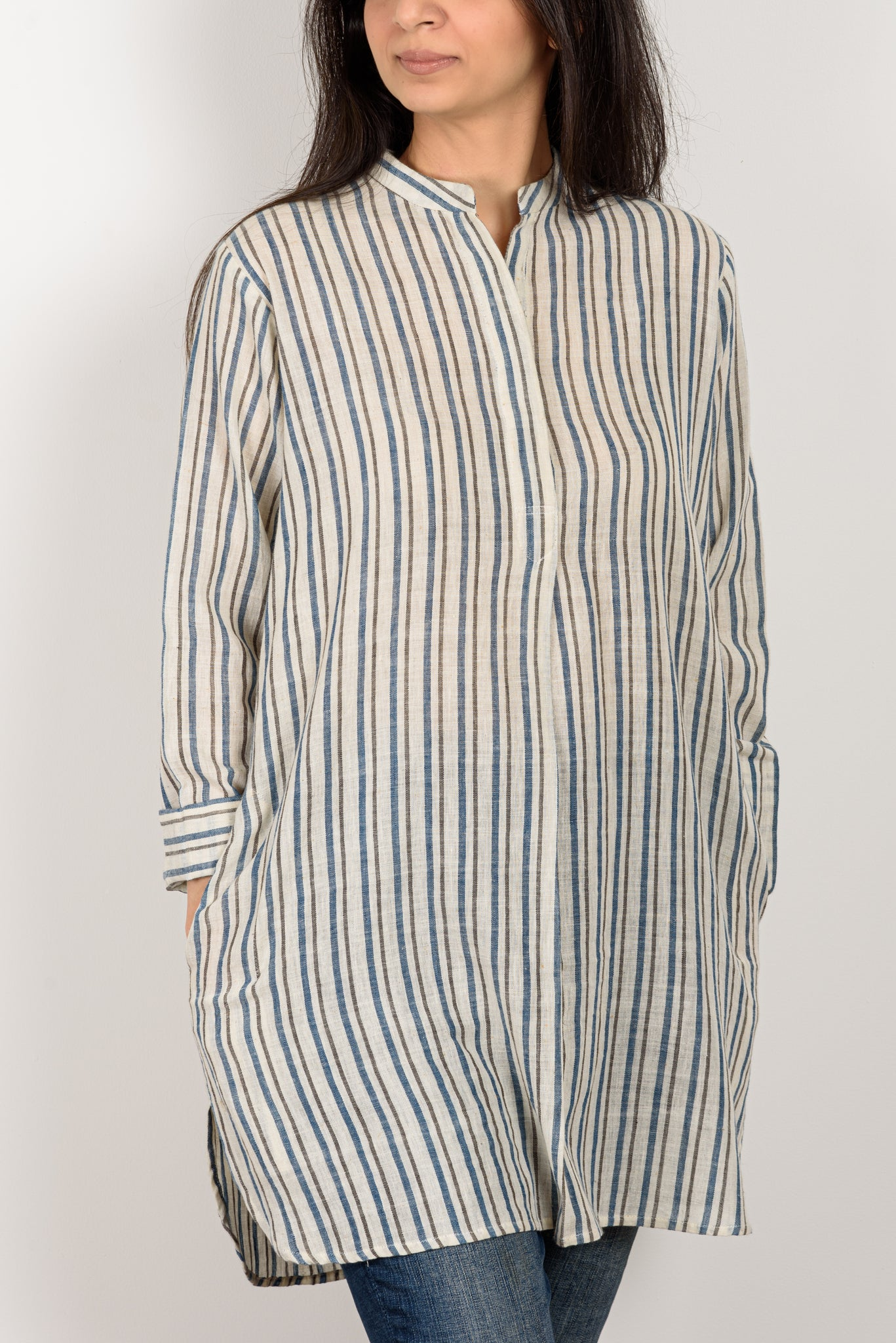 Blue Grey Striped Top