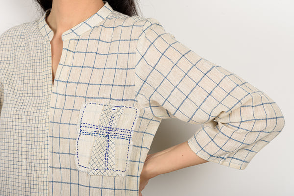 Blue Check Patch Pocket Top