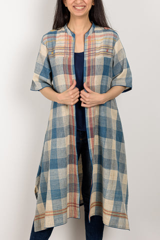 Indigo Check Jacket Long