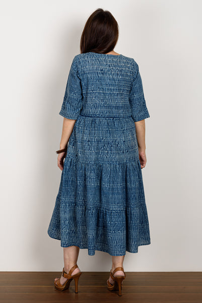 Indigo Shibori 3 Tiered Dress