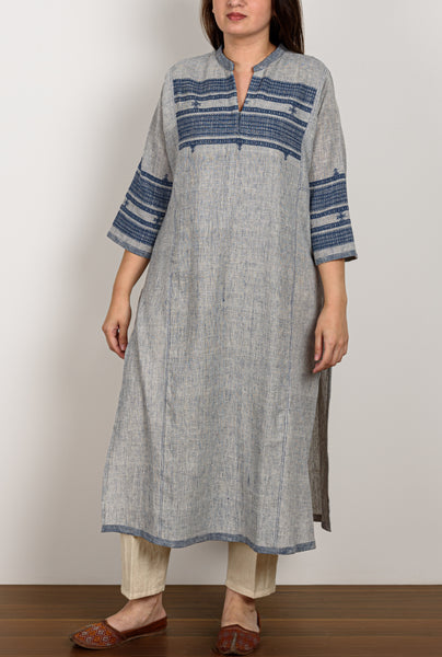 Light Indigo Textured Kurta
