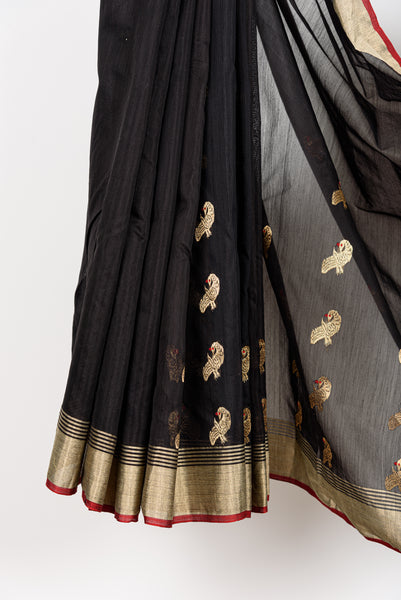 Black Chanderi Peacock Saree