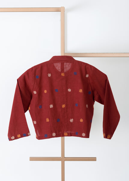 Brick Red Khadi Blouse
